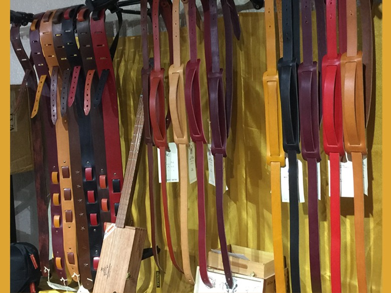 Leather Straps for Guitar Cigarbox made in France